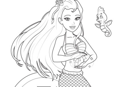 Mermaiden Jia and Akiko Coloring Page
