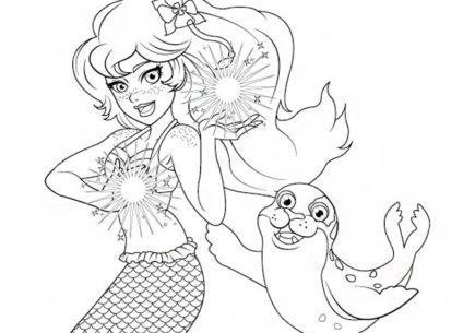 Mermaiden Brynn and Fergus Coloring Page