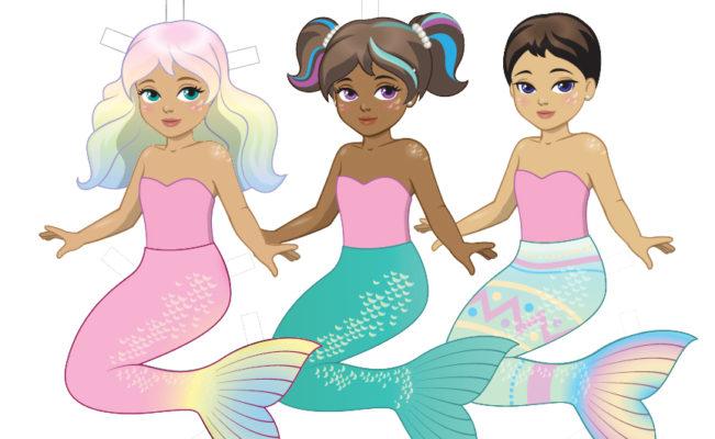 Printable Mermaid Easter Paper Dolls