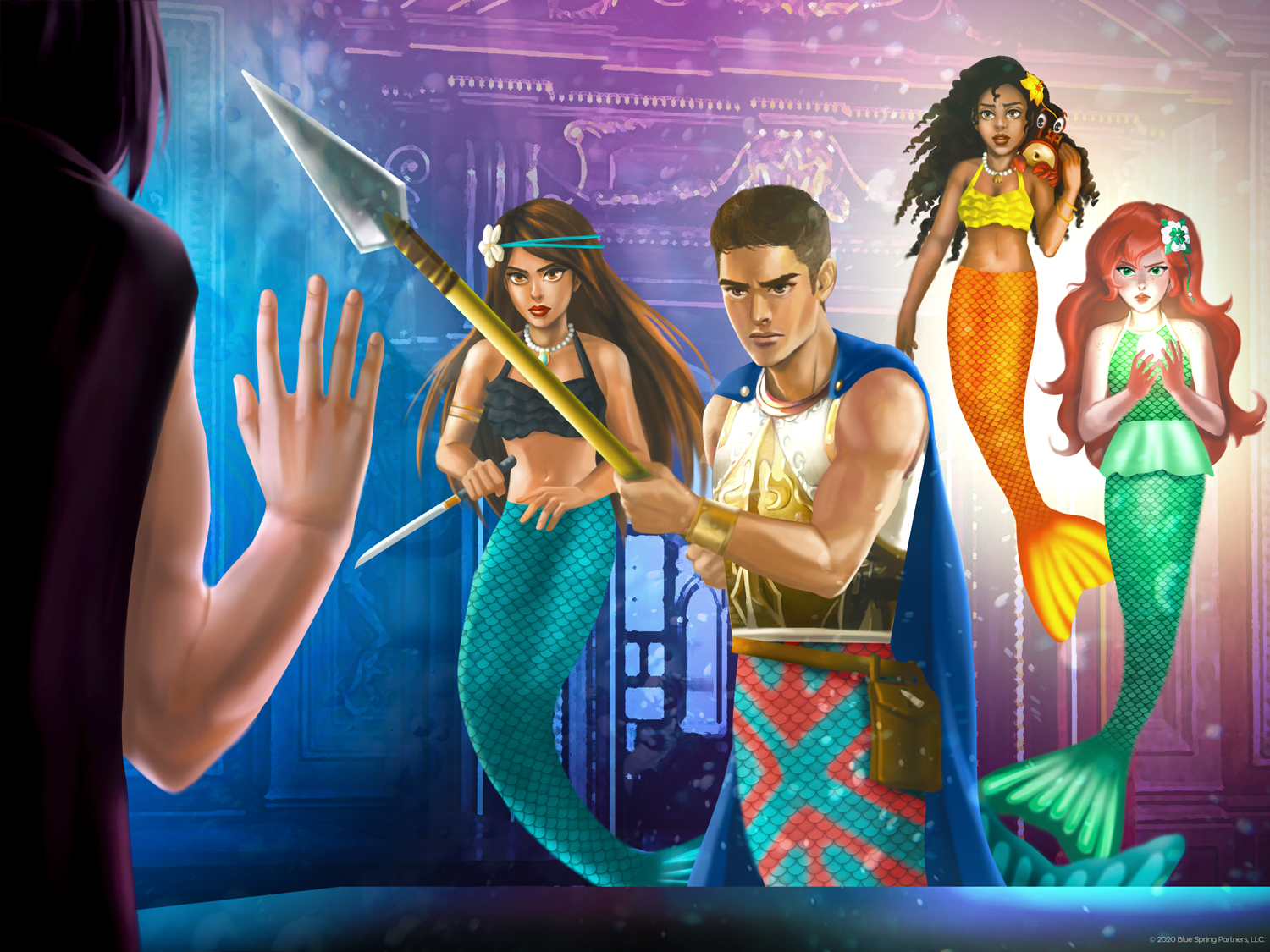 Mermaidens Mariana, Brynn, and Destiny confronting Damon