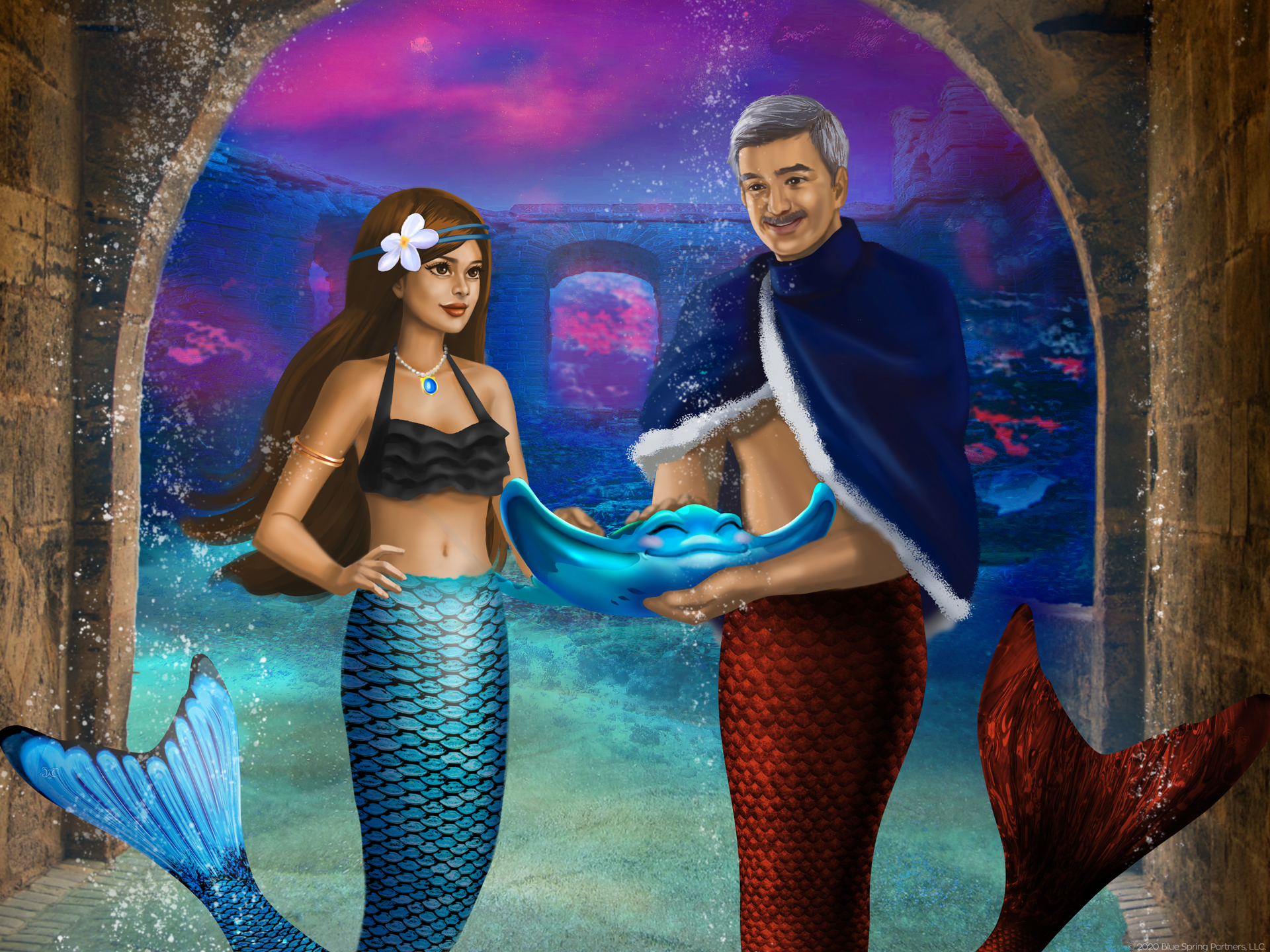 Mermaiden Mariana and MerKing Caspian beside each other while Caspian holds Rico the stingray
